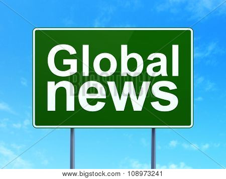 News concept: Global News on road sign background