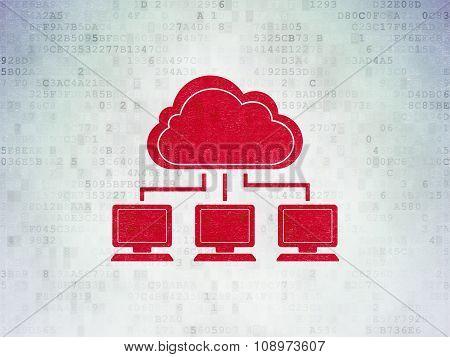 Cloud computing concept: Cloud Network on Digital Paper background