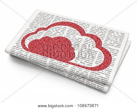 Cloud technology concept: Cloud on Newspaper background