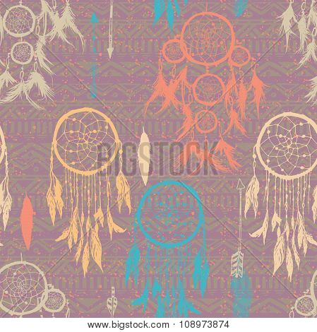 Seamless vector illustration with dream catchers on the tribal seamless background. hand drawn illus