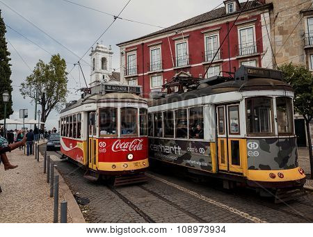 Famous old tram in Lissabon