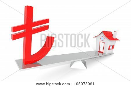 Turkish Lira Real Estate Balance Illustration Design Over A White Background