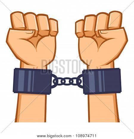 Captured Hands Chained With Handcuff