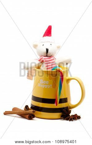 Yellow Mug With Cinnamon And Bear