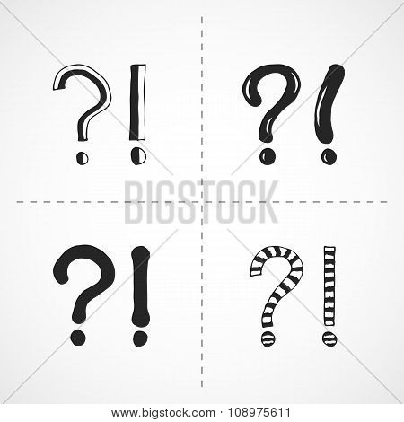 Question end exclamation marks - hand drawn