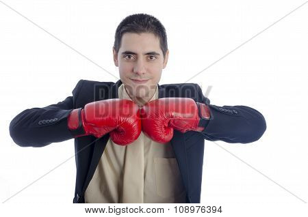 Man In Suit With Red Boxing Gloves With His Fists In Contact