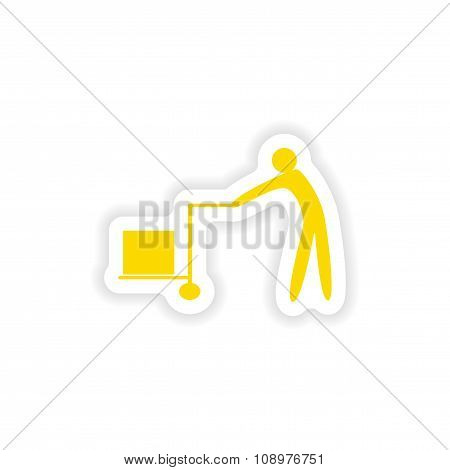 icon sticker realistic design on paper mover