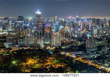 Bangkok, Thailand - Circa August 2015: Skyline Of Bangkok, Thailand By  Night
