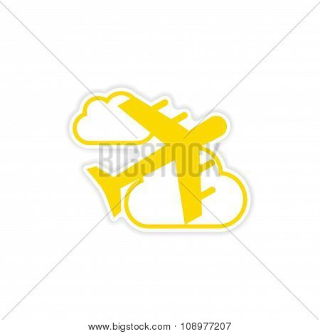 icon sticker realistic design on paper aircraft clouds