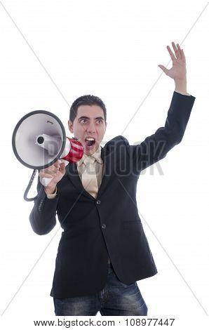 Man Dressed In Suit Shouting With Flushed Face Through Megaphone.