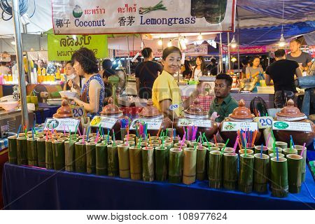 Chiang Mai, Thailand - Circa August 2015: Local People Sell Traditional Thai Food And Drinks At Nigh