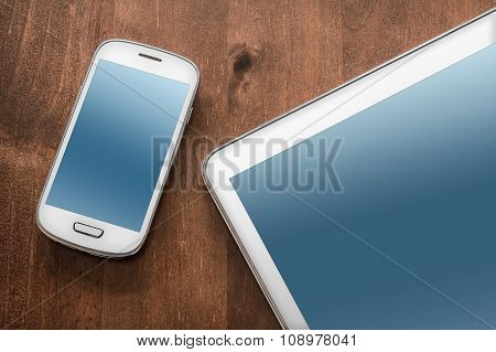 Business Work With Tablet And Smartphone
