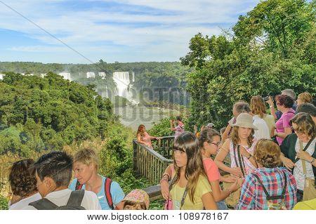 People At Iguazu Park In Brazil