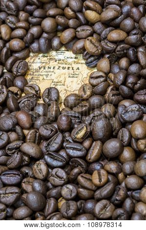 Map Of Venezuela Under A Background Of Coffee Beans