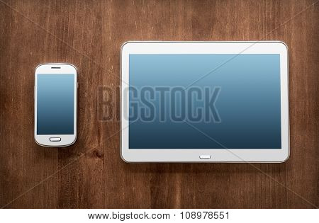 Business Work With Tablet & Smartphone