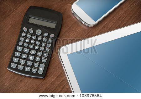 Business Work With Tablet, Smartphone & Calculator