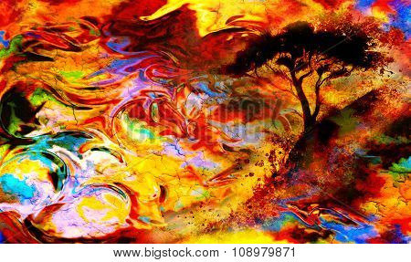Abstract colorful landscape with a tree silhuette