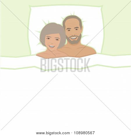 happy couple in bed,