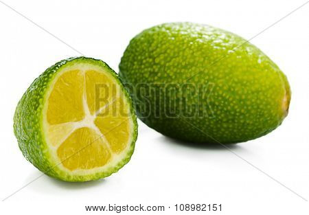 External and internal surfaces of lime isolated on white background.