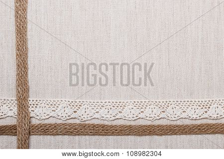 Lace Frame On Linen Cloth Background