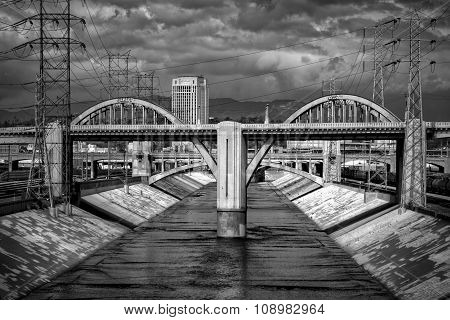 Sixth Street Viaduct And Los Angeles River In Black And White