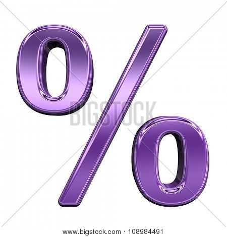 Percent sign from shiny purple alphabet set, isolated on white. Computer generated 3D photo rendering.