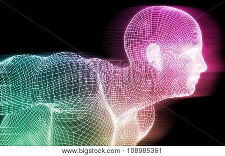 Human Wireframe and Digital Consciousness System Concept