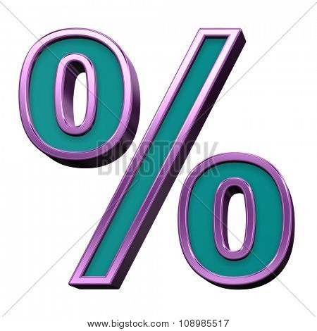 Percent sign from blue glass with purple frame alphabet set, isolated on white. Computer generated 3D photo rendering.
