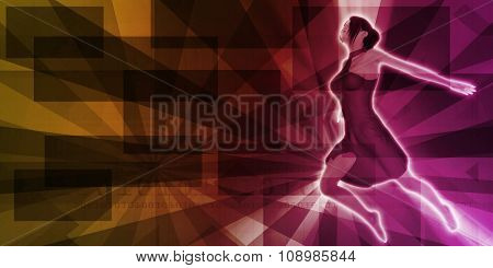 Colorful 3D Female Model Gliding on Abstract Background