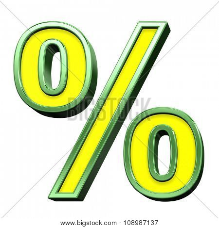 Percent sign from yellow with green frame alphabet set, isolated on white. Computer generated 3D photo rendering.