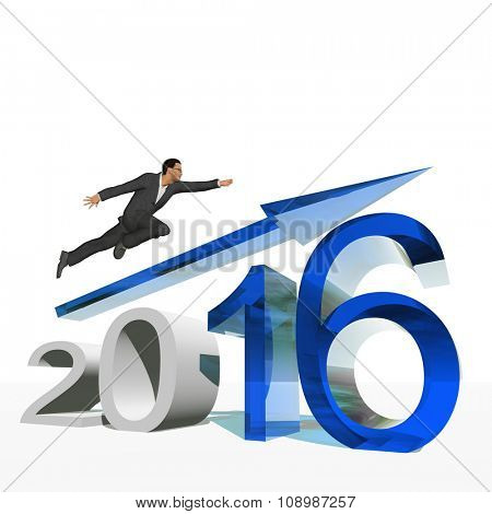 Conceptual 3D human,man or businessman flying  over an blue 2016 year symbol with an arrow isolated on white background