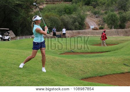 Ladies Pro Golfer Daniella Montgomery Playing Over A Bunker On November 2015 In South Africa