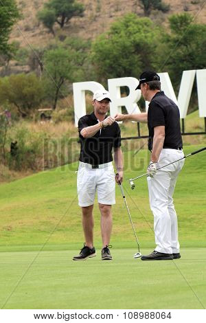 Singer-songwriter Ronan Keating Being Congratulated With His Birdie On November 2015 In South Africa