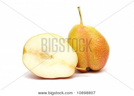 Pear And Its Section Isolated On White Background