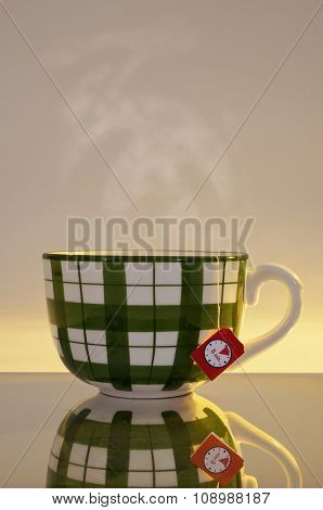 A Big Steamy Cup With Tea Filter