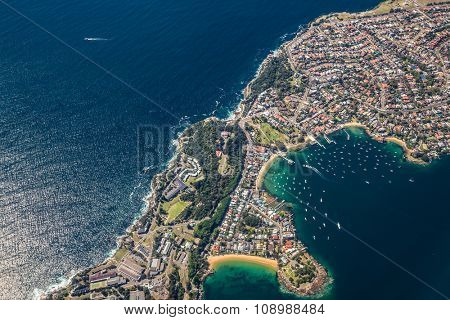 SYDNEY, AUSTRALIA - OCT 23 2014: From the air view of Watsons Bay, a suburb of Sydney, Australia