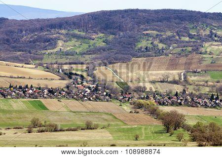 Sunny Landscape Of A Small Villagefrom Slightly Above