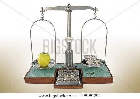 Apple and money balanced scale