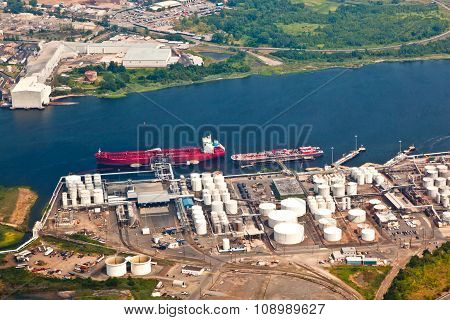 Oil Farm With River