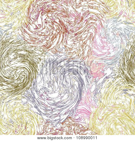 Grunge Swirled Quilted Seamless Pattern In Pastel Colors