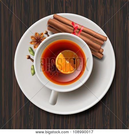 Christmas tea with spices, aromatic mulled wine
