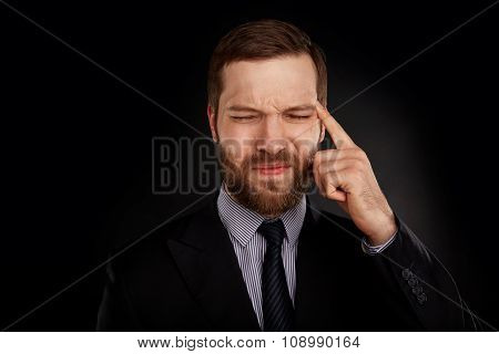 Closeup Headshot Businessman Suffering From Headache Hand On Head With Red Colored Inflamed Area Loo