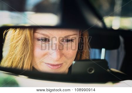 Woman In A Car - Text And Drive