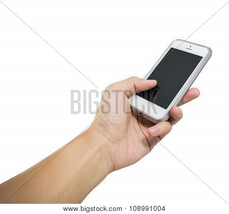 Hand Holding White Smart Phone Isolated
