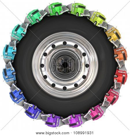 Tractor trailers driving around in a circle on a 3d wheel or tire illustrating Over the Road trucking