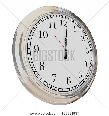 Clock face isolated to illustrate passing minutes, seconds and hours