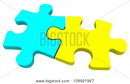 Two puzzle pieces in blue and yellow coming together to solve a problem