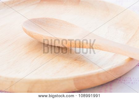 Set Of Wooden Spoon And Plate