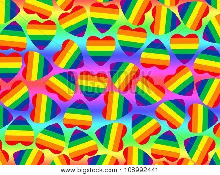 Multicolored Hearts Shape With Gay Pride Flag Inside.abstract Background.