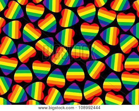 Set Of Multicolored Hearts Shape With Gay Pride Flag Inside On Black Background.